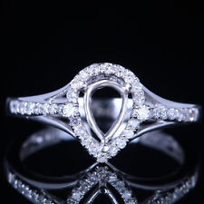 Solid 14k White Gold 7x5mm Pear Cut Shape Nautral Diamonds Semi Mount Set Ring