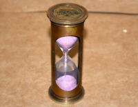 Vintage brass sand timer jacket 2 minute pink sand hourglass nautical decor