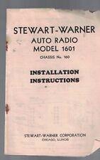 Stewart-Warner Auto Radio 1601- Instructions 1930s Chassis #160