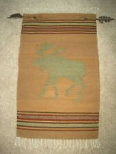 Vintage Hand Woven ZAPOTEC Mexican WOOL Wall Hanging MOOSE Arrowheads FEATHERS