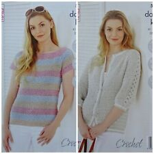CROCHET PATTERN Ladies Sleeveless Top and 3/4 Cardigan Cotton DK King Cole 5504