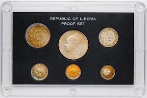 1971 REPUBLIC OF LIBERIA PROOF SET 6 COIN SET VIBRANT MULTI COLOR TONED CHOICE