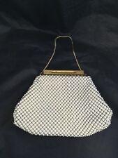Vintage White Beaded Bag Gold Chain Handle Purple Liner Purse Bag Clutch