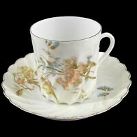 Antique Hermann Ohme Germany Twisted Pastel Yellow Porcelain Tea Cup & Saucer