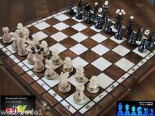 ♞ Hand Crafted Pearl Wooden Chess Set 35cm X 35cm ♜