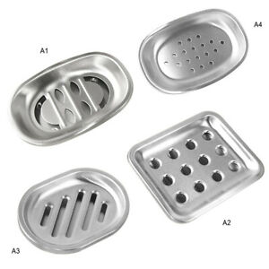 Stainless Steel Soap Dish Tray Double Draining Soap Box Holder Bathroom Kitchen