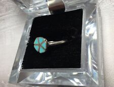 Vintage Turquoise ring, size 6, handcrafted, set in sterling silver. Zuni style