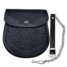 Celtic Knot Embossed Black Leather Medieval Scottish Kilt Sporran Pouch & Belt