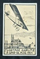 1924 Gorlitz Germany First Flight Air Mail Postcard Cover to Dresden Germany