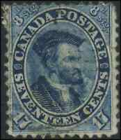 Canada #19 used VG-F 1859 First Cents 17c blue Jacques Cartier CV$90.00