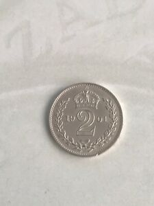 1901 Maundy 2 Penny 2D - Victoria Silver (.925) 0.94g 13mm KM# 776, Sp#3946