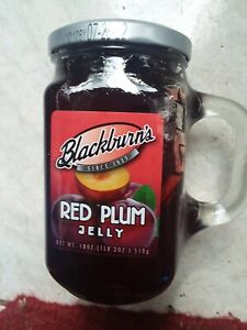 NEW BLACKBURN'S Red Plum Jelly 18 Oz Jar Best By 7-28-22 Reusable Glass Jar
