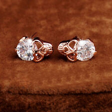 Women Rose Gold Tone Crystal Diamond Skull Pierced Studs Earrings Jewelry Pretty