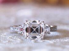 3.95 Ct Unique Asscher Cut Three Stone Engagement Wedding Ring In 9K White Gold