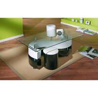 Table basse salon rectangulaire tabourets design moderne verre pied NOIR BLANC