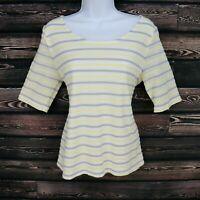 Croft & Barrow Shirt Top Womens Size M Yellow Gray White Striped 100% Polyester