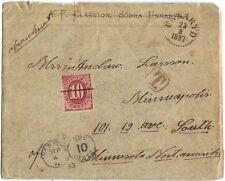 SWEDEN-US 1893 POSTAGE DUE CVR W/SCOTT J26 ON UNFRANKED