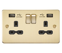 Flat Plate Brushed Brass 13A Sockets, Switches etc Full Range Black Inserts