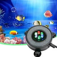 LED Aquarium Air Bubbler Stone Underwater Auto Lights Fish Round Tank Lamp B2Y8