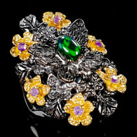 Rainbow6x4mm Natural Black Opal 925 Sterling Silver Ring Size 8.75/R112092