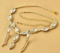 NEW Cubic Zirconia 9K Yellow Gold Filled Necklace+Earrings Set F6026