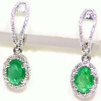 1.66CT 14K Gold Natural Cut White Diamond Emerald Vintage Drop Dangle Earrings