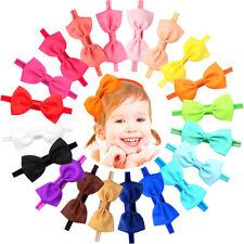 20Pcs Baby Girls Solid Ribbon Hair Bows Headbands Bow Hair Bands for Toddler