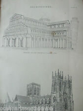 ANTIQUE PRINT C1880'S  ARCHITECTURE YORK CATHEDRAL ENGRAVING ETCHING BUILDING