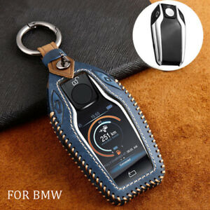 Leather Display Remote Key Case Cover for BMW 5 6 7 Series i8 X3 GT X3 30i Blue