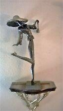 """Ron Jones Original Signed Sculpture Handmade Clay- """"Downtown Shopping"""" 15"""" tall"""