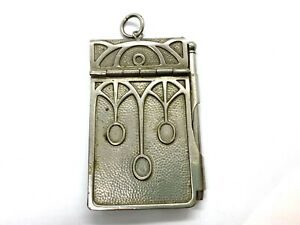 Antique Art Nouveau Arts & Crafts Pewter Chatelaine Aide-Memoire Notebook