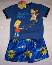 The Simpsons Boys Blue Shake Down Printed Cotton Satin Pyjama Set Size 3 New