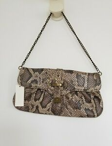 TALBOT's Leather Snakeskin Print Clutch Bag Taupe Grey