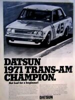 "1971 Datsun 510 Trans Am Champion Original Print Ad 8.5 x 11/"""