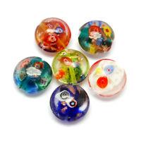 10pcs Handmade Lampwork Glass Beads Flat Round Millefiori Loose Craft Bead 20mm
