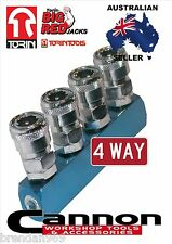 NITTO STYLE  4 WAY AIR FITTING  1/4 BSP COMPRESSOR AIR LINE COUPLER MANIFOLD