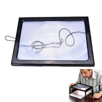 Large A4 Page Hands Free 3x Magnifying Glass With Light LED Magnifier Reading JS