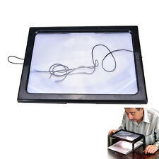 Large A4 Page Hands Free 3x Magnifying Glass With Light LED Magnifier ReadingF&F