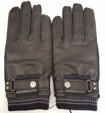 Paul Smith Leather Gloves Black Mens Large Rib Cuff