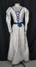 dress Victorian 2 piece small blue silk bustle antique original 1880 vg
