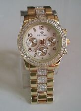Designer Style hip hop Bling clubbing Gold finish ICE STAR fashion Rapper  watch