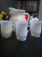 Genuine Kool Aid Plastic Pitcher And 3 Cups With Handles Vintage free shipping