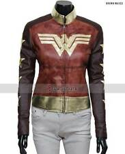 {--- New Gal Gadot Wonder Woman Waxed Leather Jacket in Genuine Cow Leather ---}