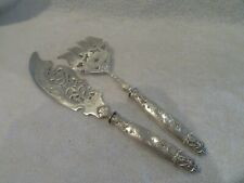 Gorgeous 1900 french sterling silver & silverplated fish serving set art nouveau