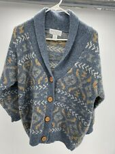 Vintage Petite Sophisticate Thick Shetland Wool Cardigan Sweater Small Aztec