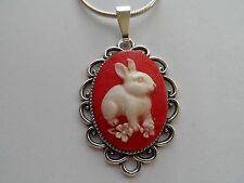 """CAMEO NECKLACE BUNNY RABBIT 20"""" CHAIN (RED/WHITE)"""