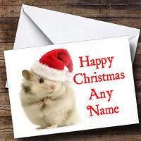 Hamster White Christmas Greetings Card Personalised