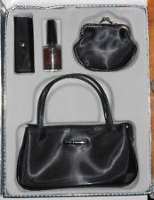 Vintage 4 Pc Black Mini Bag Lipstick Case Mirror Coin Purse Nail Polish Gift Set