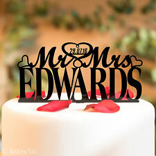 Personalised Mr and Mrs Wedding Cake Topper Decorations with Surname & Date MM1