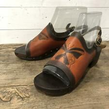 Vintage 70s Platforms Shoes Sandals Leather Butterfly Hippie Hippy Boho
